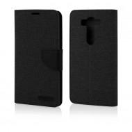Custodia Canvas/Tessuto per LG V10 a libro - portafoglio chiusura magnetica cover tpu Nero