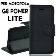 Custodia per Motorola Moto G8 Power Lite Nero a libro - portafoglio chiusura magnetica cover tpu