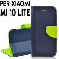 Custodia cover Per Xiaomi MI 10 Lite Blu-Lime, slim luxury a libro/portafoglio stand case interno in tpu