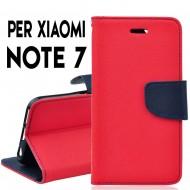 Custodia per Xiaomi Redmi Note 7 e Note 7 Pro cover slim luxury a libro/portafoglio stand case interno in tpu , Rosso-Blu