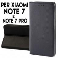 Custodia per Xiaomi Redmi Note 7 e Note 7 Pro a libro - portafoglio chiusura magnetica cover tpu colore Nero