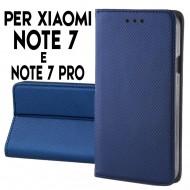 Custodia per Xiaomi Redmi Note 7 e Note 7 Pro a libro - portafoglio chiusura magnetica cover tpu colore Blu