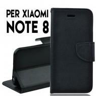 Custodia per Xiaomi Redmi Note 8 cover slim luxury a libro/portafoglio stand case interno in tpu , Nero