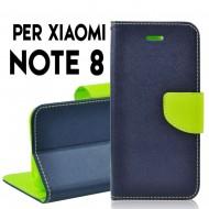 Custodia per Xiaomi Redmi Note 8 cover slim luxury a libro/portafoglio stand case interno in tpu , Blu-Lime