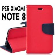 Custodia per Xiaomi Redmi Note 8 cover slim luxury a libro/portafoglio stand case interno in tpu , Rosso-Blu