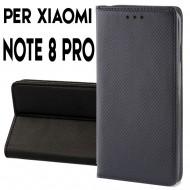 Custodia per Xiaomi Redmi Note 8 Pro a libro - portafoglio chiusura magnetica cover tpu colore Nero