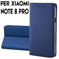 Custodia per Xiaomi Redmi Note 8 Pro a libro - portafoglio chiusura magnetica cover tpu colore Blu
