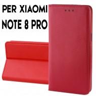 Custodia per Xiaomi Redmi Note 8 Pro a libro - portafoglio chiusura magnetica cover tpu colore Rosso