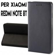 Custodia per Xiaomi Redmi Note 8T a libro - portafoglio chiusura magnetica cover tpu colore Nero