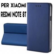 Custodia per Xiaomi Redmi Note 8T a libro - portafoglio chiusura magnetica cover tpu colore Blu