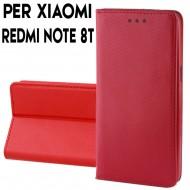 Custodia per Xiaomi Redmi Note 8T a libro - portafoglio chiusura magnetica cover tpu colore Rosso