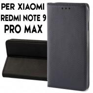 Custodia per Xiaomi Redmi Note 9 Pro Max a libro - portafoglio chiusura magnetica cover tpu colore Nero