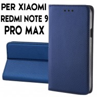 Custodia per Xiaomi Redmi Note 9 Pro Max a libro - portafoglio chiusura magnetica cover tpu colore Blu