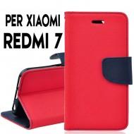 Custodia cover Per Xiaomi Redmi 7 Rosso-Blu, slim luxury a libro/portafoglio stand case interno in tpu