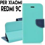 Custodia cover Per Xiaomi Redmi 9C Verde-Blu, slim luxury a libro/portafoglio stand case interno in tpu