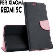 Custodia cover Per Xiaomi Redmi 9C Nero-Rosa, slim luxury a libro/portafoglio stand case interno in tpu