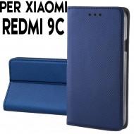 Custodia per Xiaomi Redmi 9C Blu a libro - portafoglio chiusura magnetica cover tpu