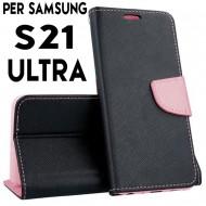 Custodia Per Samsung S21 Ultra Nero-Rosa cover a libro-portafoglio stand case interno in tpu