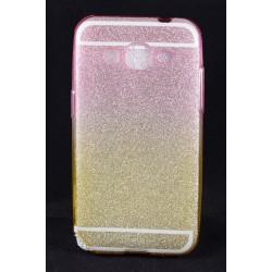 Cover per Samsung core prime G360 Back case in gomma di silicone brillantinata fucsia e giallo