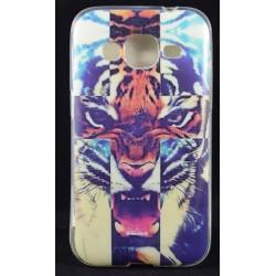 Cover per Samsung core prime G360 Back case in gomma di silicone con tigre