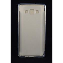Cover Back case in gomma di silicone per Samsung A7 (A700) bianco/trasparente