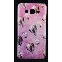 Cover per samsung Grand prime G530 Back case in silicone rosa con mongolfiere