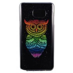 Cover Back case in gomma di silicone per Samsung Note 5 nera con gufo colorato