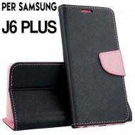 Custodia cover Per Samsung J6 PLUS 2018 Nero-Rosa ,slim luxury a libro/portafoglio stand case interno in tpu
