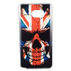 Cover Back case in gomma di silicone per Samsung Note 5 teschio con bandiera inglese