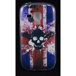 Cover Back case in gomma di silicone per Samsung  S3 Mini bandiera inglese con teschio