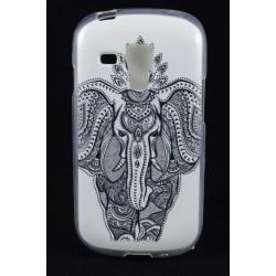 Cover Back case in gomma di silicone per Samsung  S3 Mini bianca con elefante