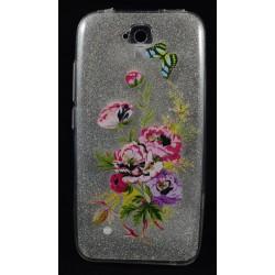 Cover per Huawei Y5 Back case in gomma di silicone trasparente con brillantinatura removibile e disegno fiori