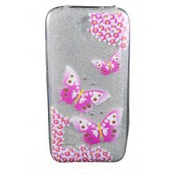 Cover per Huawei Y5 Back case in gomma di silicone trasparente con brillantinatura removibile e disegno farfalle