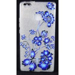 Cover per Huawei P9 LITE Back case in gomma di silicone con fiori e con brillantinatura