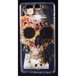Cover Back case in gomma di silicone per Huawei P9 trasparente con teschio