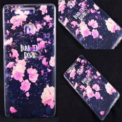 Cover Back case in gomma di silicone per Huawei P9 con tema floreale