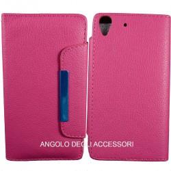 Custodia cover x Huawei Y6 a libro-portafoglio  con porta tessere ,colore rosa fucsia