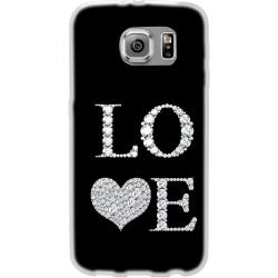 Cover per samsung  Core Prime G360 Back case in silicone nera con scritta LOVE