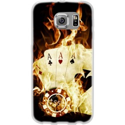 Cover Back case in silicone per samsung  J1 (J100) con carte da poker con fuoco