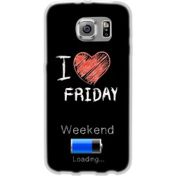 Cover Back case in silicone per samsung  J1 (J100) con scritta I LOVE FRIDAY
