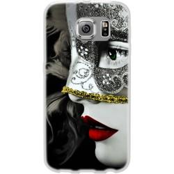 Cover Back case in silicone per samsung  J1 2016 (J120) con donna in maschera