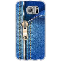 Cover Back case in silicone per samsung  J1 2016 (J120) con cerniera jeans
