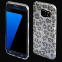 Cover custodia per Samsung S7 EDGE G935 in TPU Back Case BLINK Brillantini GLITTER Argento Panterato