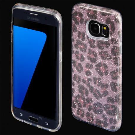 Cover custodia per Samsung S7 EDGE G935 in TPU Back Case BLINK Brillantini GLITTER Rosa Panterato