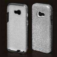 Cover custodia per Samsung A3 2017 in TPU Back Case BLINK Brillantini GLITTER Argento