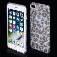 Cover custodia per iPhone 7-8 Plus in TPU Back Case BLINK Brillantini GLITTER Argento Panterato
