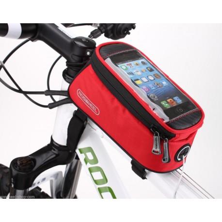 """Borsa per bicicletta Roswheel con supporto per telefono per smartphone da 4.8 """" ROSSO"""