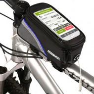 """Borsa telaio bicicletta Roswheel con supporto telefono x Smartphone 4.8 pollici"""" NERO CON RIGA BLU"""