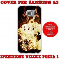 Cover Back case in silicone per samsung  A3 (A300) con carte da poker con fuoco
