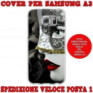 Cover Back case in silicone per samsung  A3 (A300) con donna in maschera
